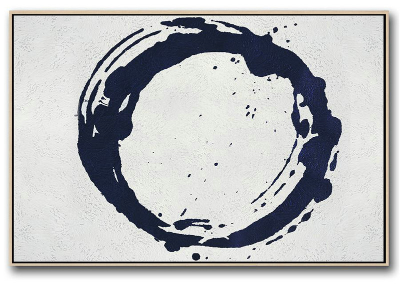 Horizontal Abstract Painting Navy Blue Minimalist Painting On Canvas,Size Extra Large Abstract Art #X5C7