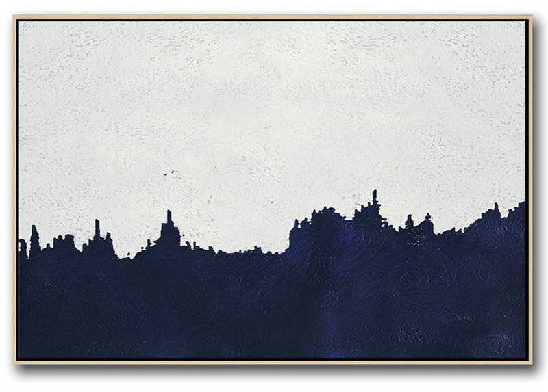 Horizontal Abstract Painting Navy Blue Minimalist Painting On Canvas,Unique Canvas Art #Z5V9