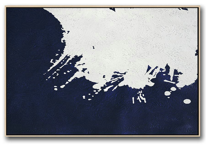 Horizontal Abstract Painting Navy Blue Minimalist Painting On Canvas,Living Room Canvas Art #Q9K5