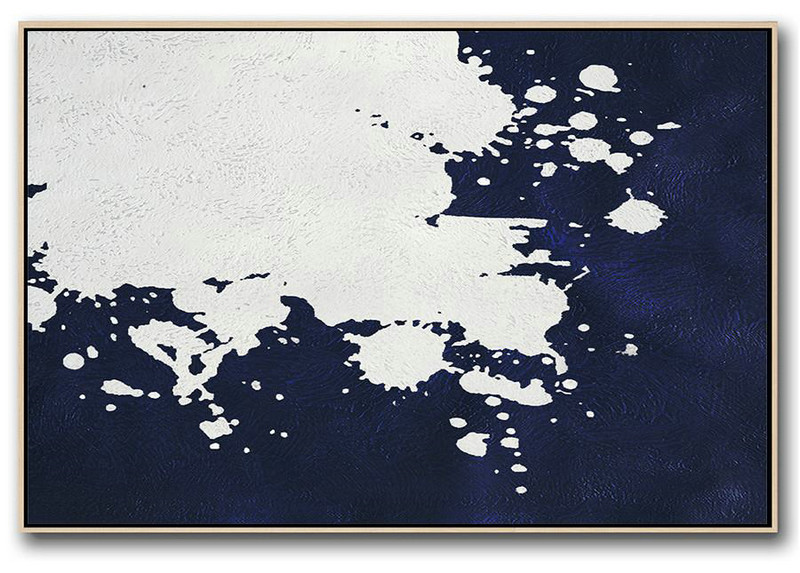 Horizontal Abstract Painting Navy Blue Minimalist Painting On Canvas,Canvas Wall Paintings #H0C9