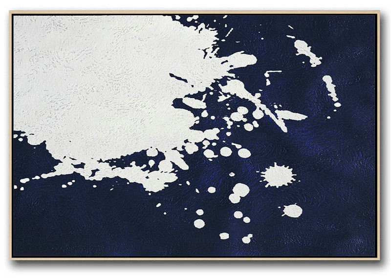 Horizontal Abstract Painting Navy Blue Minimalist Painting On Canvas,Acrylic Painting Large Wall Art #W4W1
