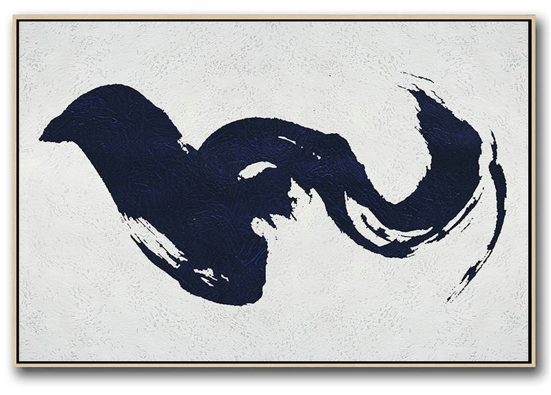 Horizontal Abstract Painting Navy Blue Minimalist Painting On Canvas,Abstract Painting On Canvas #Z4B9