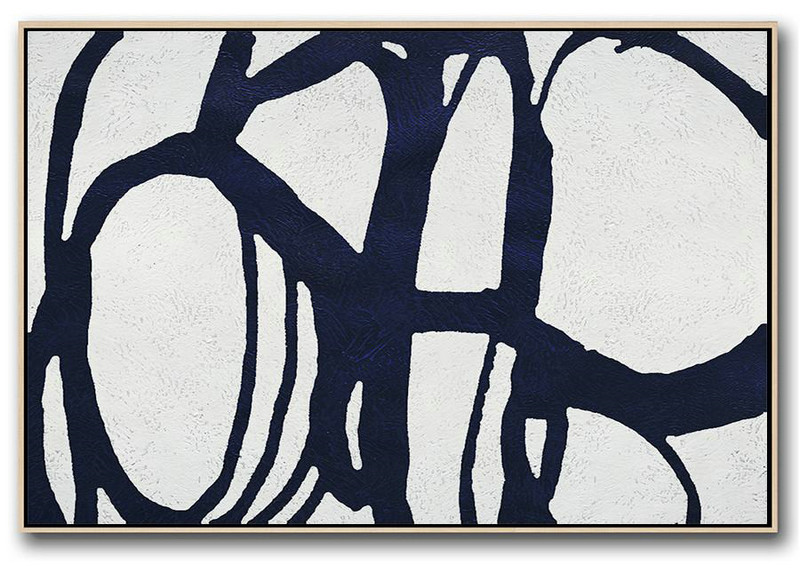 Horizontal Abstract Painting Navy Blue Minimalist Painting On Canvas,Textured Painting Canvas Art #F6Q6