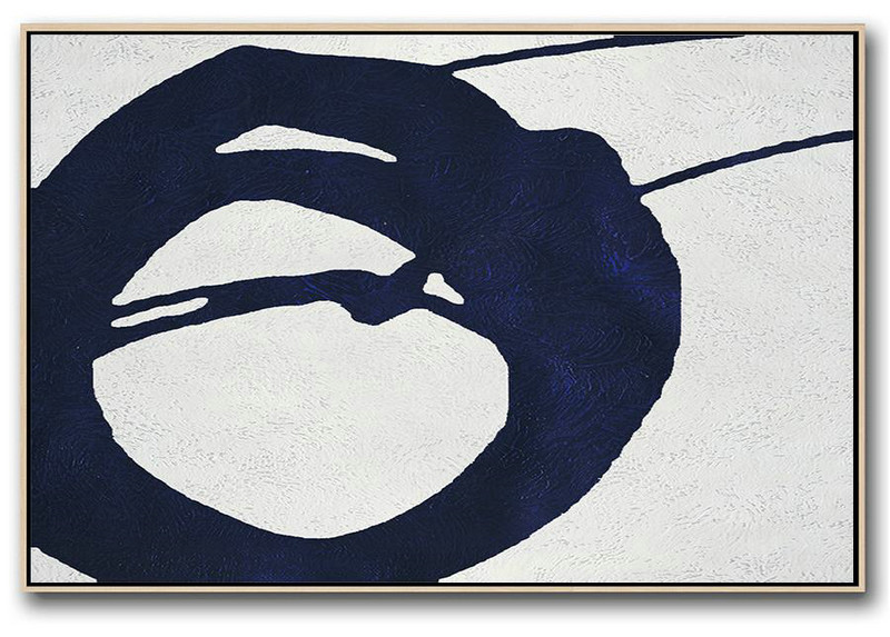 Horizontal Abstract Painting Navy Blue Minimalist Painting On Canvas,Extra Large Abstract Painting On Canvas #V3A6