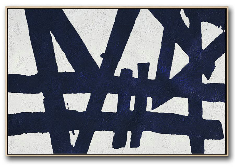 Horizontal Abstract Painting Navy Blue Minimalist Painting On Canvas,Original Art Acrylic Painting #C5P8