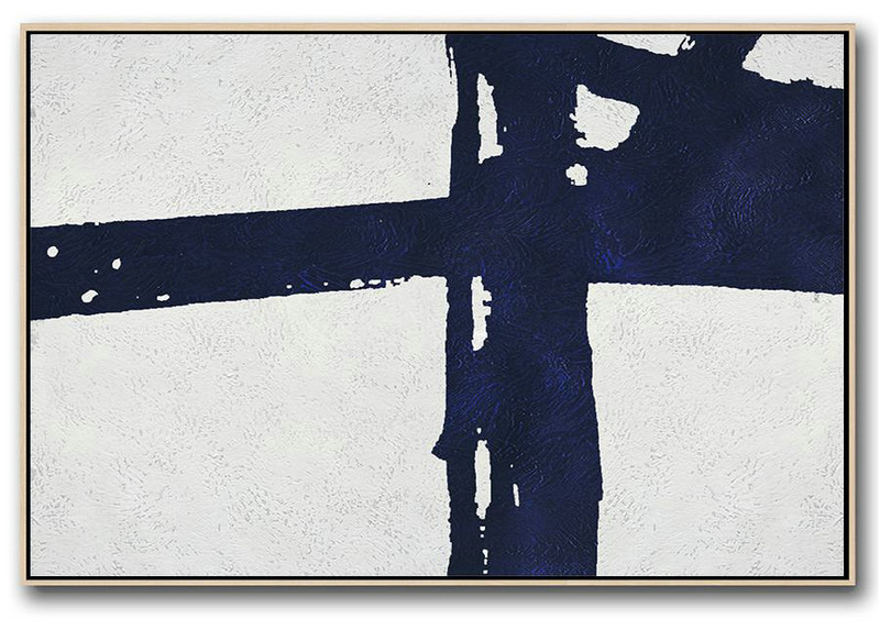 Horizontal Abstract Painting Navy Blue Minimalist Painting On Canvas,Artwork For Sale #Y1D5