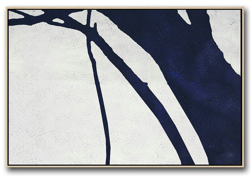 Horizontal Abstract Painting Navy Blue Minimalist Painting On Canvas,Art Work #F8O7