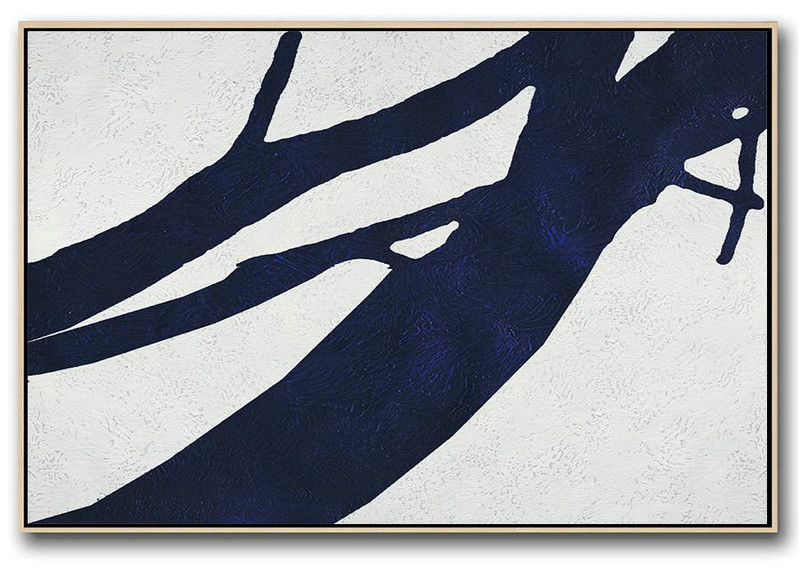 Horizontal Abstract Painting Navy Blue Minimalist Painting On Canvas,Modern Art Abstract Painting #K0K7