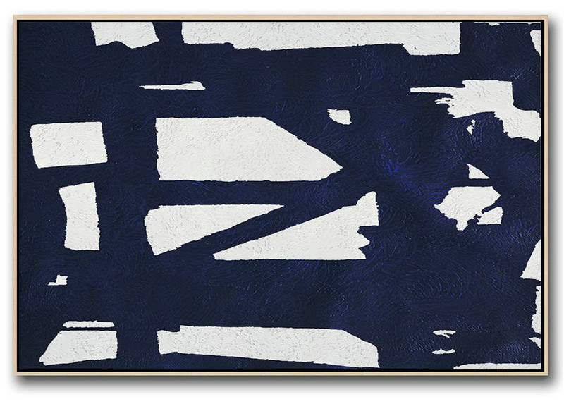 Horizontal Abstract Painting Navy Blue Minimalist Painting On Canvas,Acrylic Painting On Canvas #X0D4
