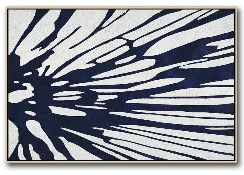 Horizontal Abstract Painting Navy Blue Minimalist Painting On Canvas,Pop Art Canvas #U1U2