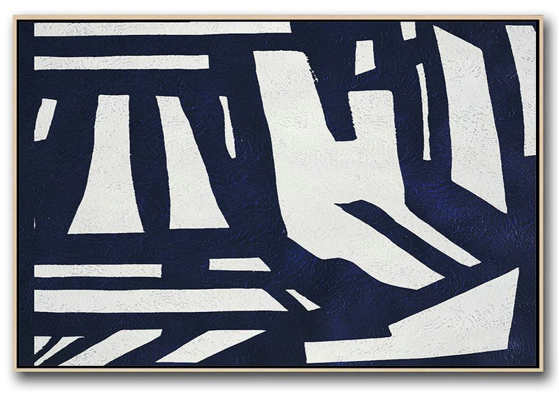 Horizontal Abstract Painting Navy Blue Minimalist Painting On Canvas,Original Abstract Painting Canvas Art #C4U9