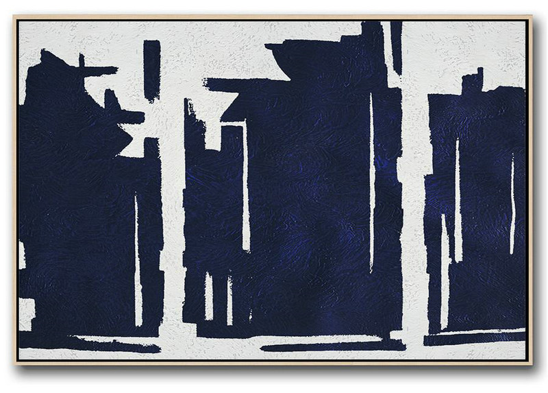 Horizontal Abstract Painting Navy Blue Minimalist Painting On Canvas,Acrylic Painting On Canvas #U5L5