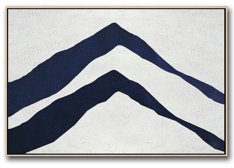 Horizontal Abstract Painting Navy Blue Minimalist Painting On Canvas,Big Canvas Painting #C7Z5