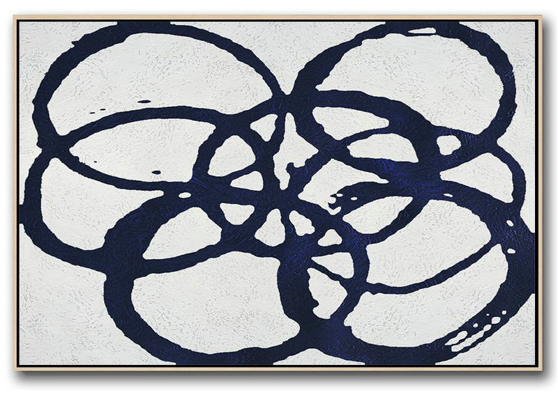 Horizontal Navy Painting Abstract Minimalist Art On Canvas,Canvas Artwork For Living Room #C8O6