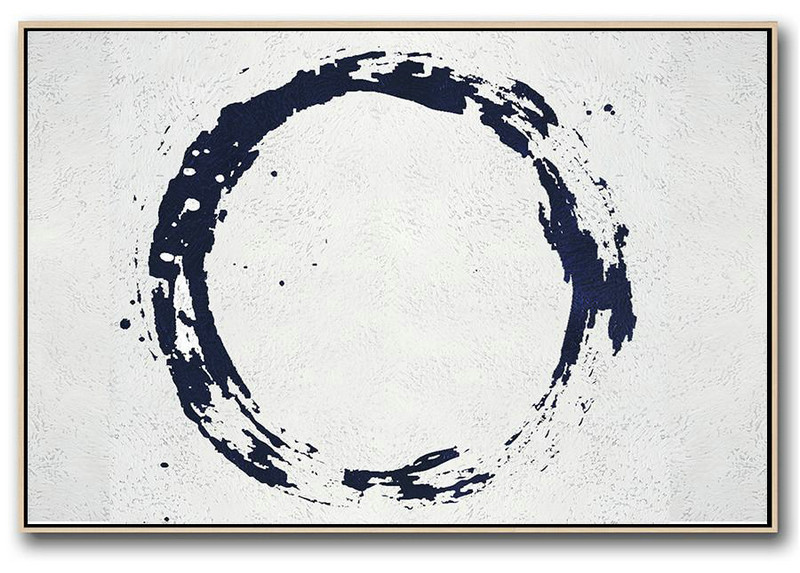 Horizontal Navy Painting Abstract Minimalist Art On Canvas,Home Decor Canvas #C3A9