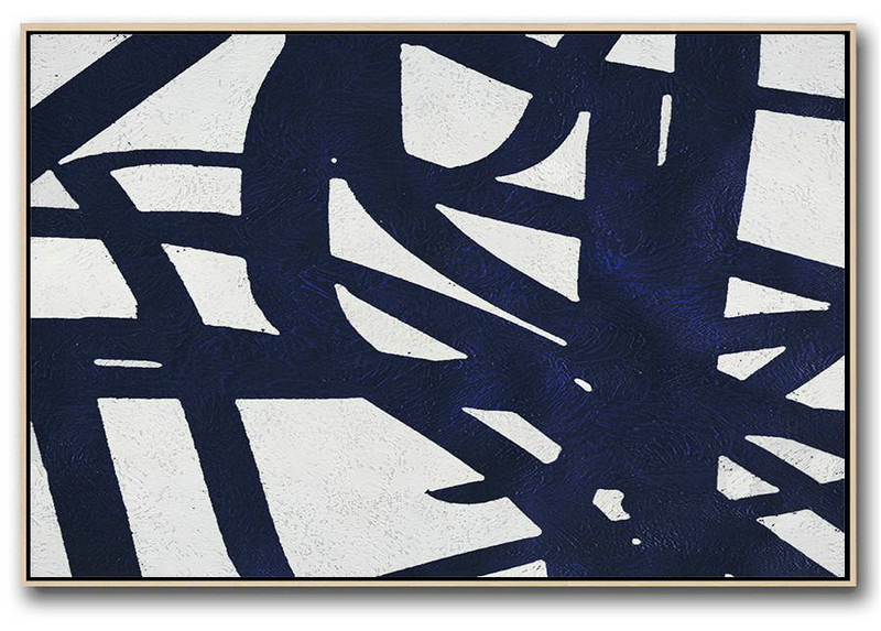 Horizontal Navy Painting Abstract Minimalist Art On Canvas,Large Wall Canvas Paintings #C2N6