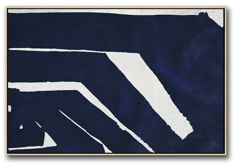 Horizontal Navy Painting Abstract Minimalist Art On Canvas,Oversized Wall Decor #W2X8
