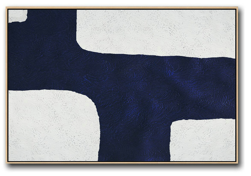Horizontal Navy Painting Abstract Minimalist Art On Canvas,Unique Canvas Art #L6Y8
