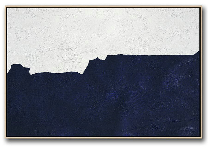 Horizontal Navy Painting Abstract Minimalist Art On Canvas,Bedroom Wall Decor #M7D6