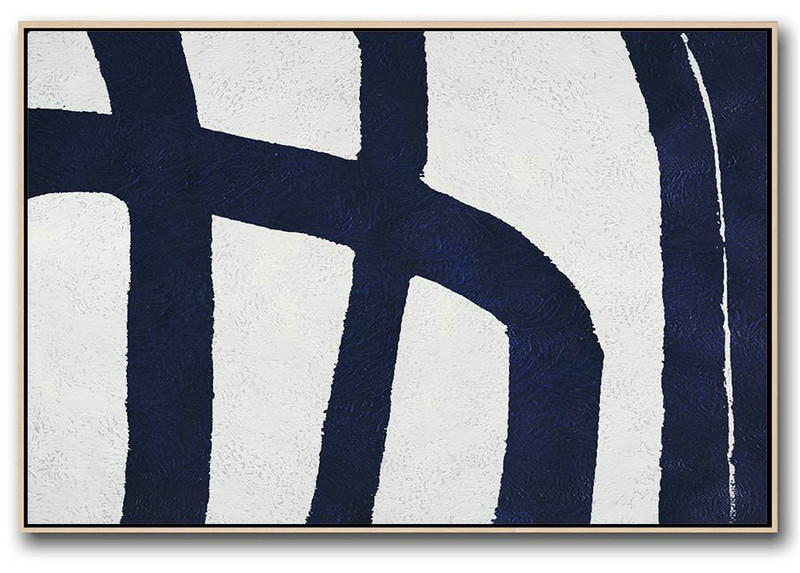 Horizontal Navy Painting Abstract Minimalist Art On Canvas,Modern Living Room Decor #U9Y9