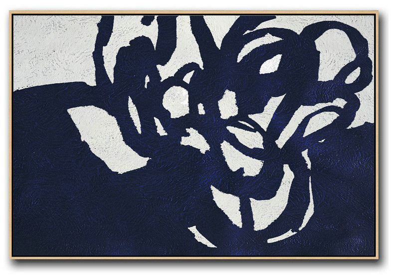 Horizontal Navy Painting Abstract Minimalist Art On Canvas,Large Abstract Art #M4U6