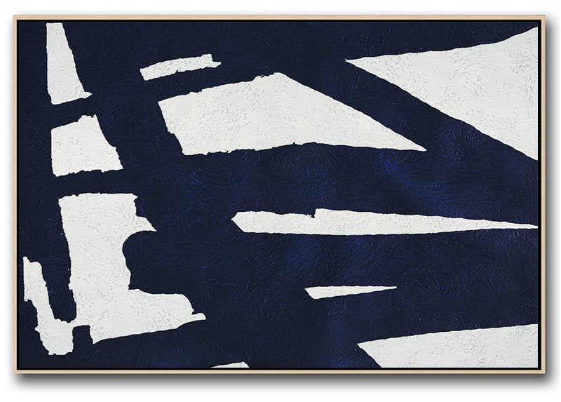 Horizontal Navy Painting Abstract Minimalist Art On Canvas,Giant Wall Decor #Q4D8