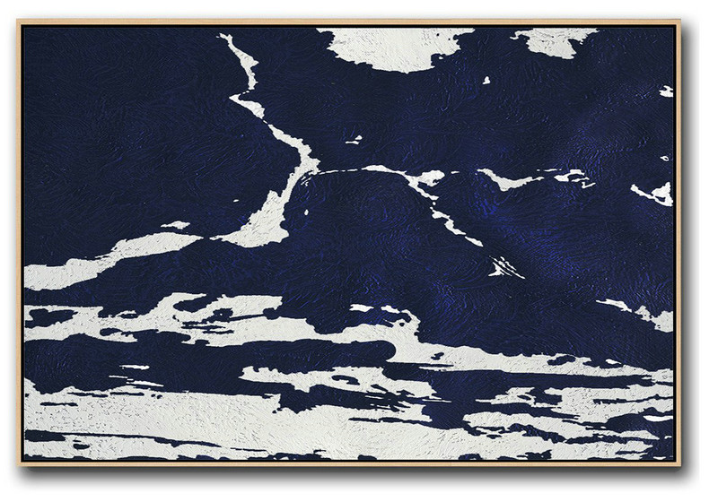 Horizontal Navy Painting Abstract Minimalist Art On Canvas,Living Room Canvas Art #J7G5