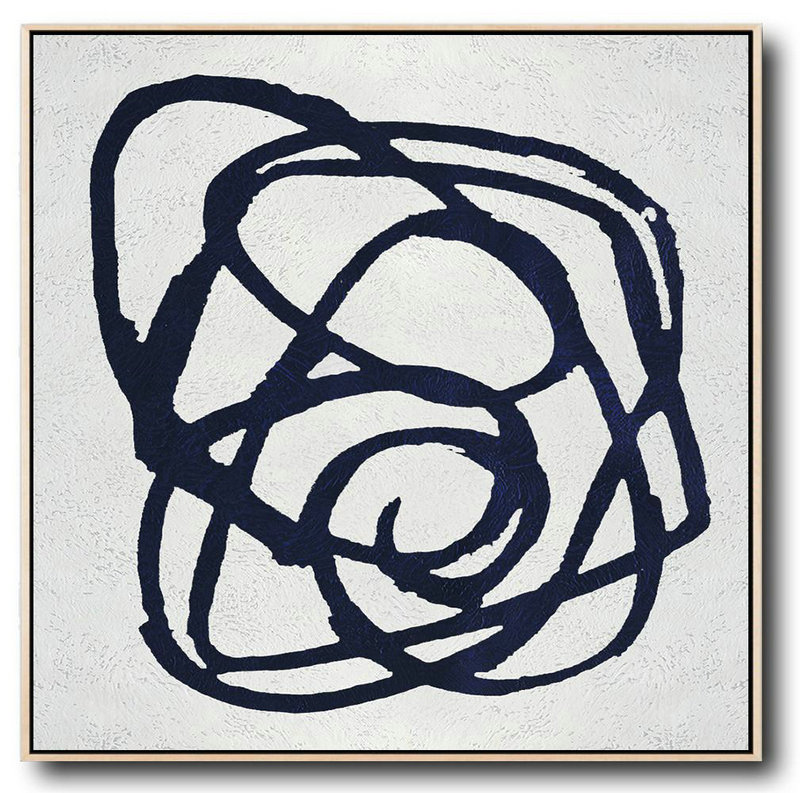 Buy Large Canvas Art Online - Hand Painted Navy Minimalist Painting On Canvas,Contemporary Abstract Painting #Y5M5