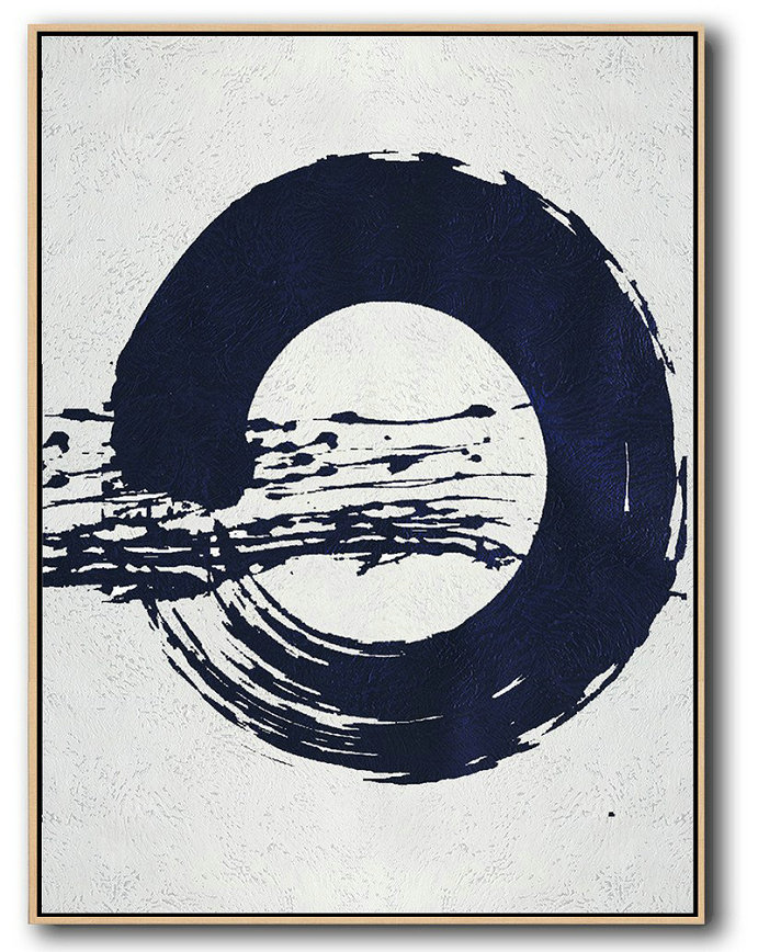 Buy Hand Painted Navy Blue Abstract Painting Online,Extra Large Acrylic Painting On Canvas #R8L5