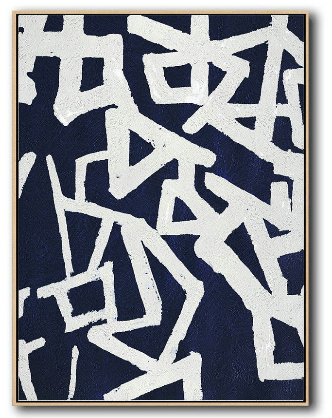 Buy Hand Painted Navy Blue Abstract Painting Online,Huge Abstract Canvas Art #D7H9