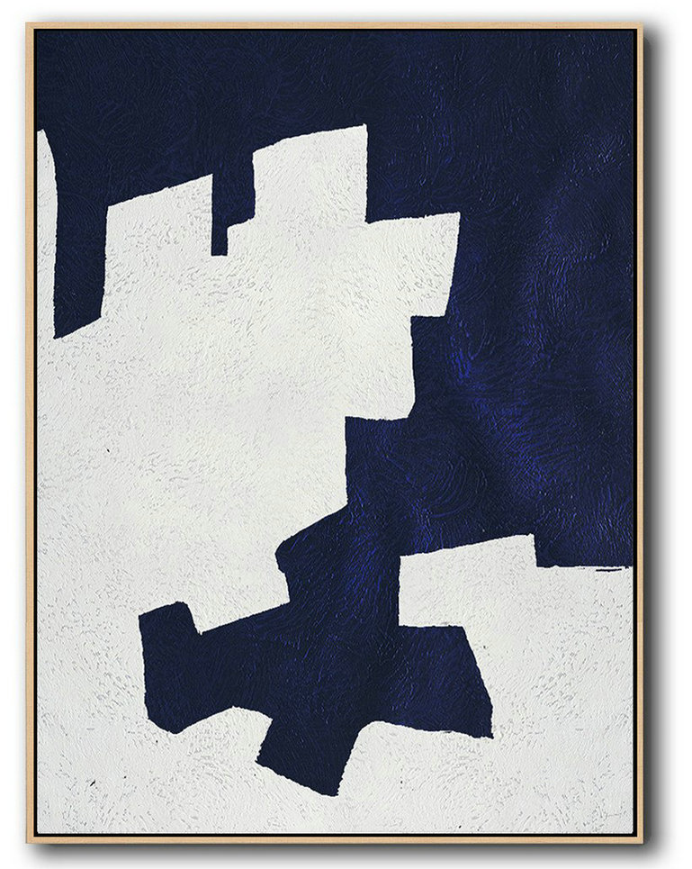 Buy Hand Painted Navy Blue Abstract Painting Online,Large Oil Canvas Art #O8K2