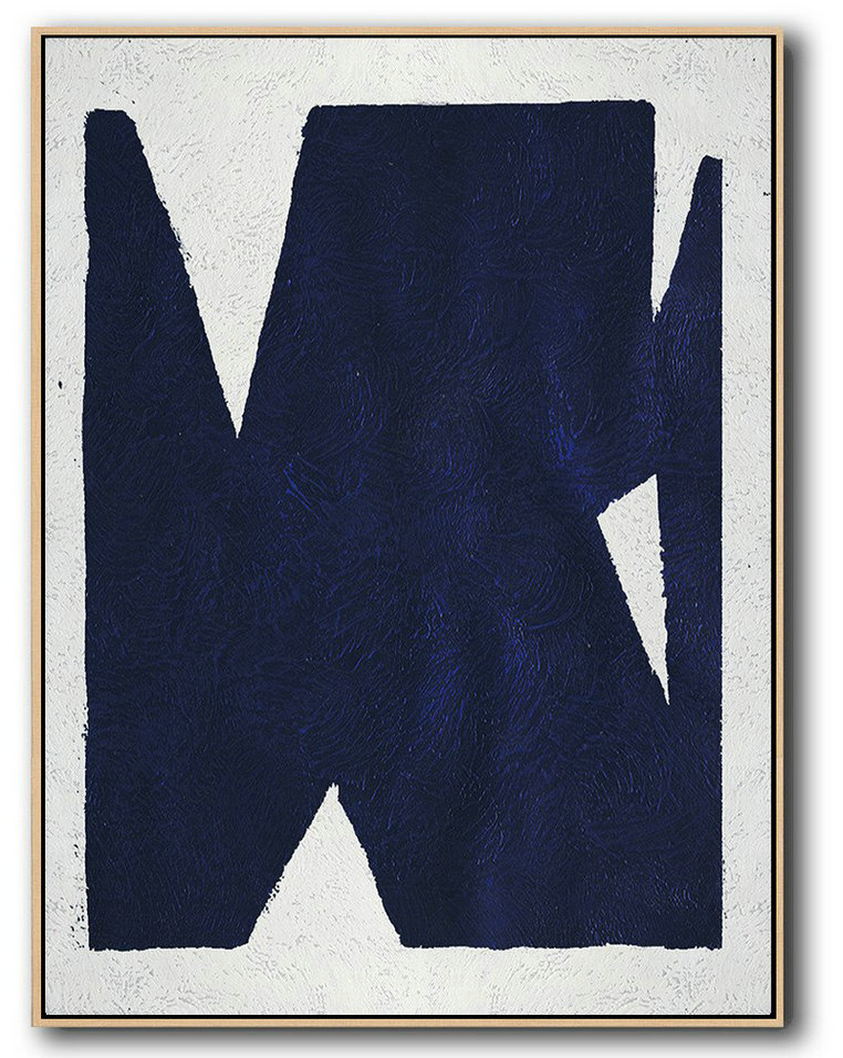 Buy Hand Painted Navy Blue Abstract Painting Online,Extra Large Painting #Z3S0