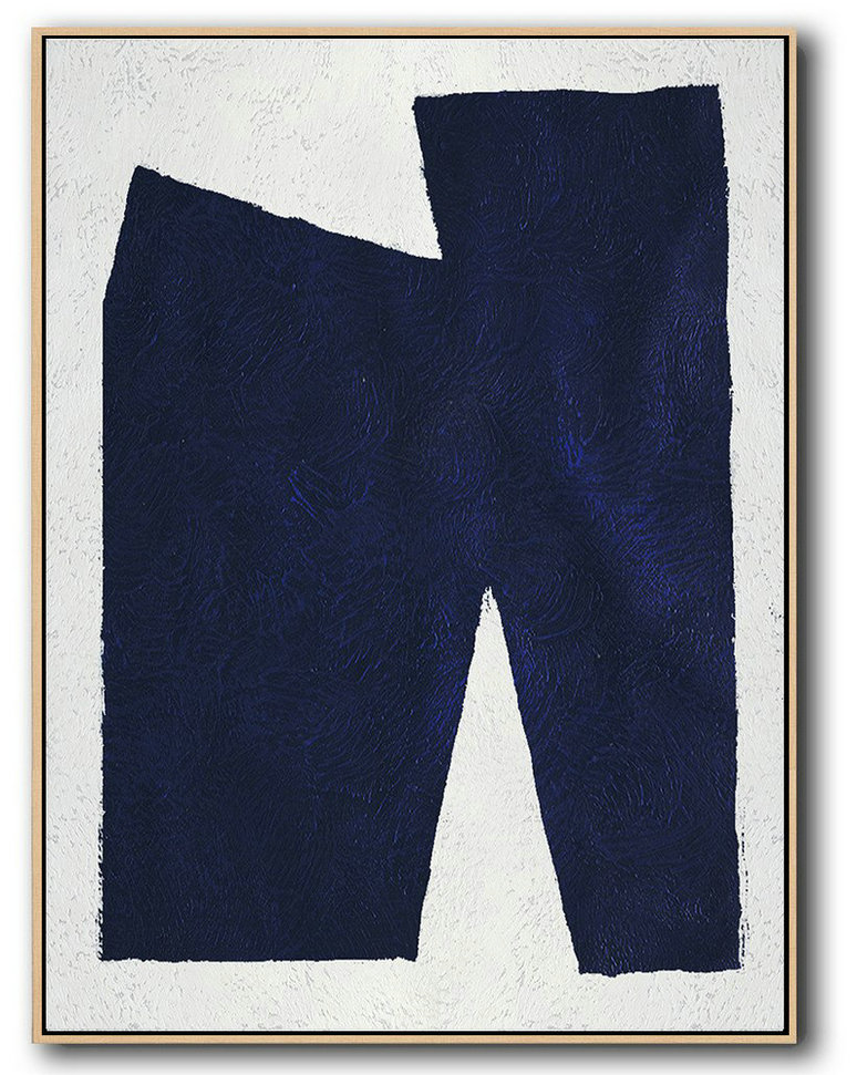 Buy Hand Painted Navy Blue Abstract Painting Online,Abstract Painting Extra Large Canvas Art #M2B7