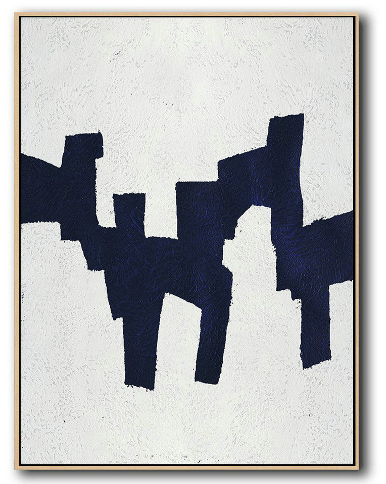 Buy Hand Painted Navy Blue Abstract Painting Online,Extra Large Artwork #Y0W9