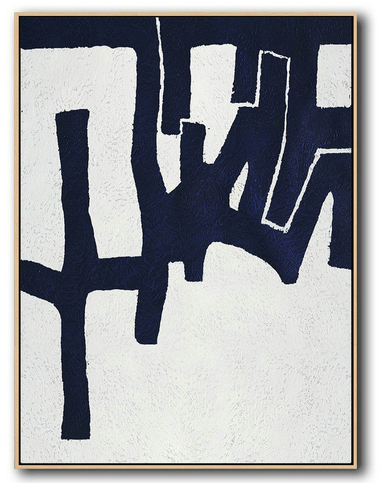 Buy Hand Painted Navy Blue Abstract Painting Online,Large Wall Canvas #I4N3