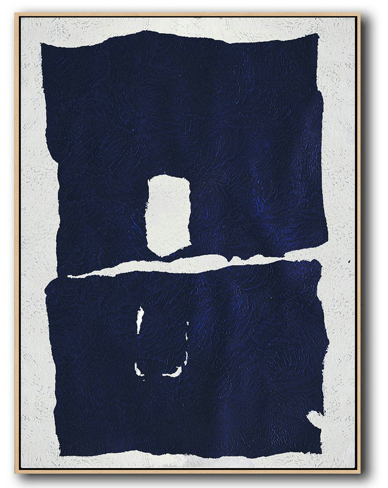 Buy Hand Painted Navy Blue Abstract Painting Online,Huge Canvas Art On Canvas #J7X5
