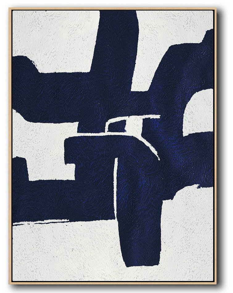 Buy Hand Painted Navy Blue Abstract Painting Online,Large Paintings For Living Room #K9G5