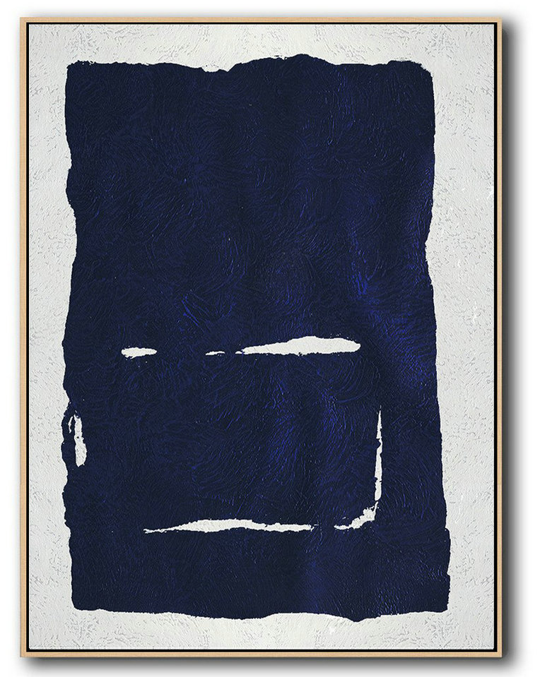 Buy Hand Painted Navy Blue Abstract Painting Online,Extra Large Paintings #W1J2