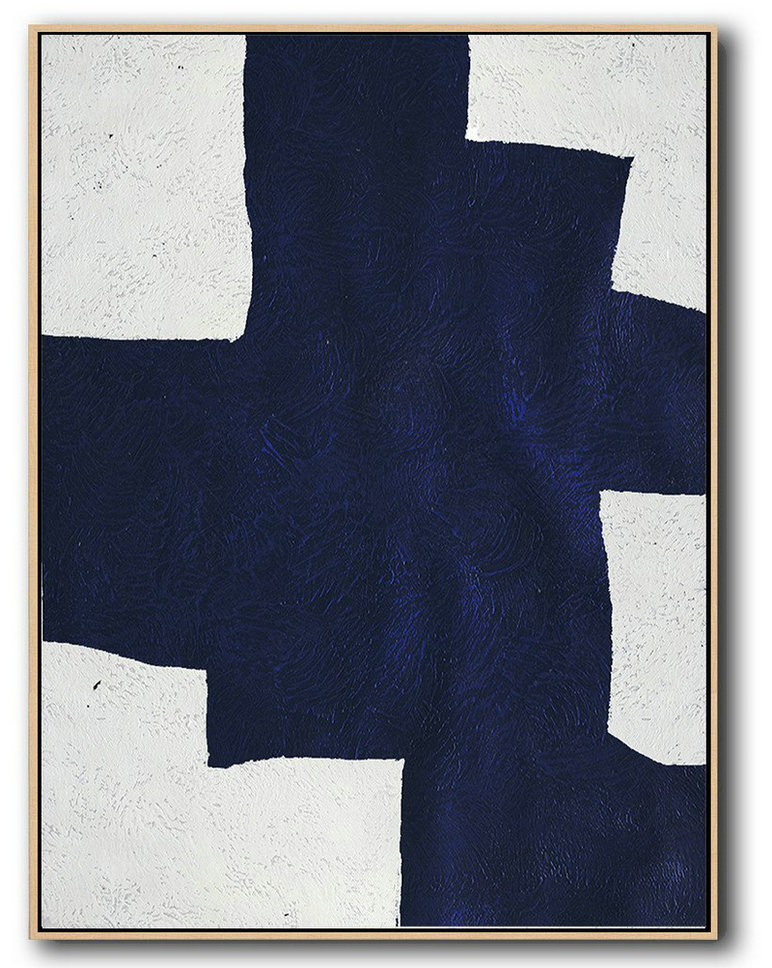 Buy Hand Painted Navy Blue Abstract Painting Online,Large Abstract Painting Canvas Art #Z1X0