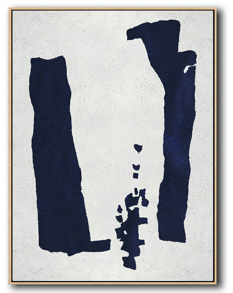 Buy Hand Painted Navy Blue Abstract Painting Online,Large Colorful Wall Art #S2D8