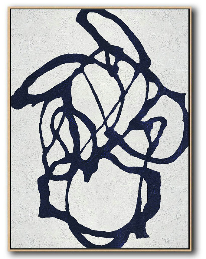 Buy Hand Painted Navy Blue Abstract Painting Online,Acrylic Painting On Canvas #S8V4