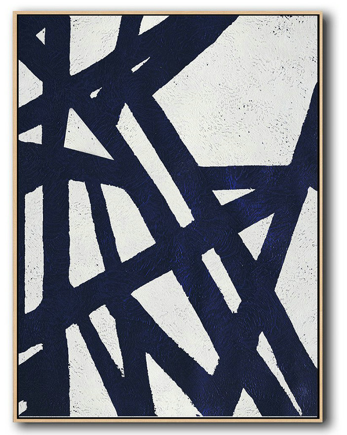 Buy Hand Painted Navy Blue Abstract Painting Online,Original Artwork Extra Large Abstract Painting #S7P3