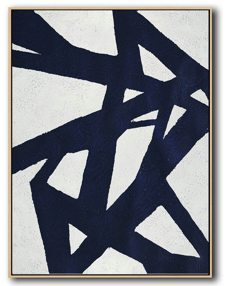 Buy Hand Painted Navy Blue Abstract Painting Online,Living Room Wall Art #K3J7