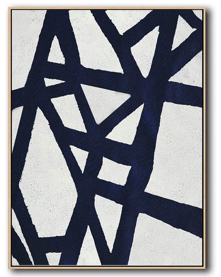 Buy Hand Painted Navy Blue Abstract Painting Online,Huge Abstract Canvas Art #E5K8
