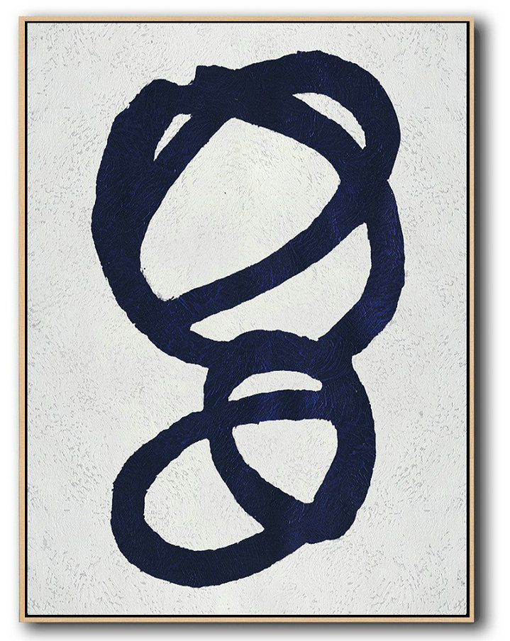 Buy Hand Painted Navy Blue Abstract Painting Online,Large Oil Canvas Art #E7B2
