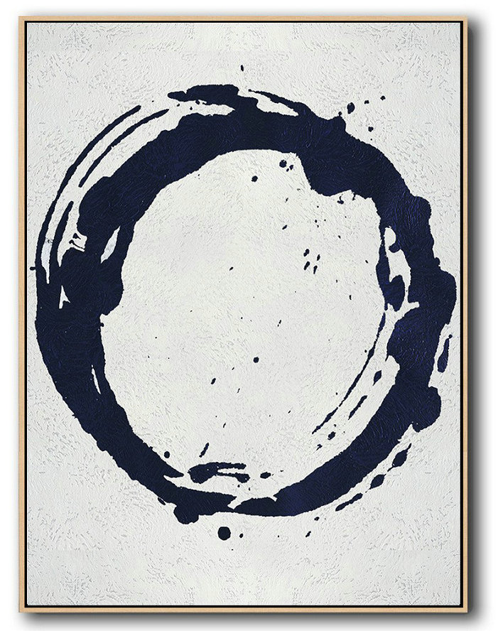 Buy Hand Painted Navy Blue Abstract Painting Online,Extra Large Textured Painting On Canvas #W7O1