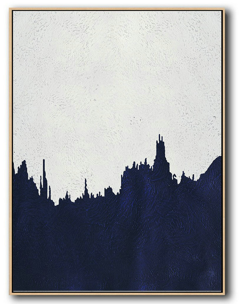 Buy Hand Painted Navy Blue Abstract Painting Online,Unique Canvas Art #I3O9