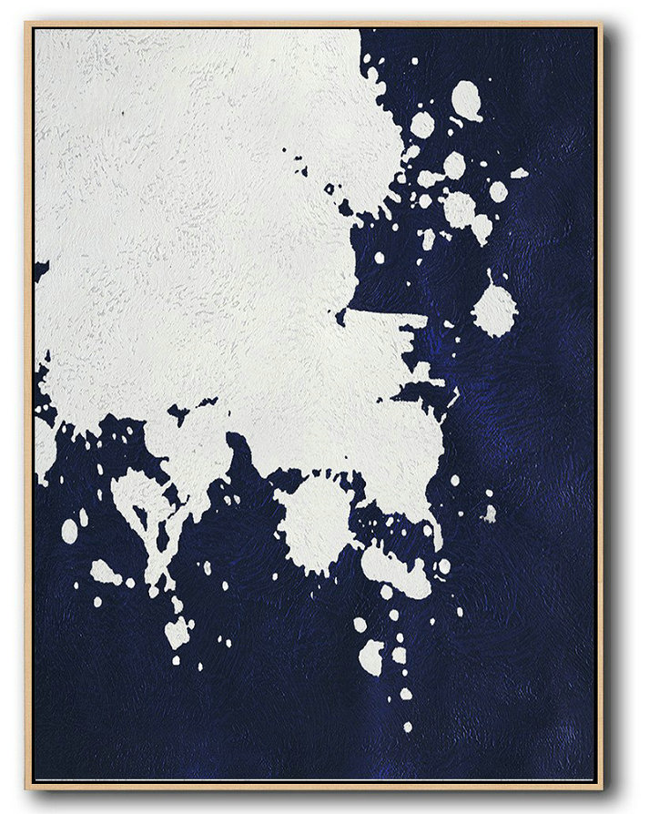 Buy Hand Painted Navy Blue Abstract Painting Online,Living Room Canvas Art #R8C2