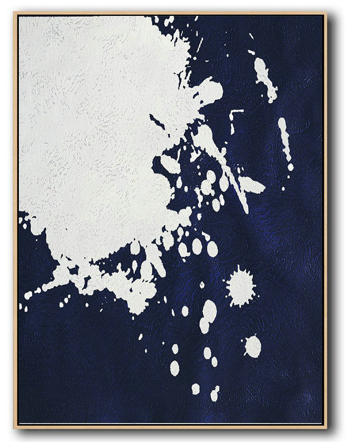 Buy Hand Painted Navy Blue Abstract Painting Online,Canvas Wall Paintings #M9M4