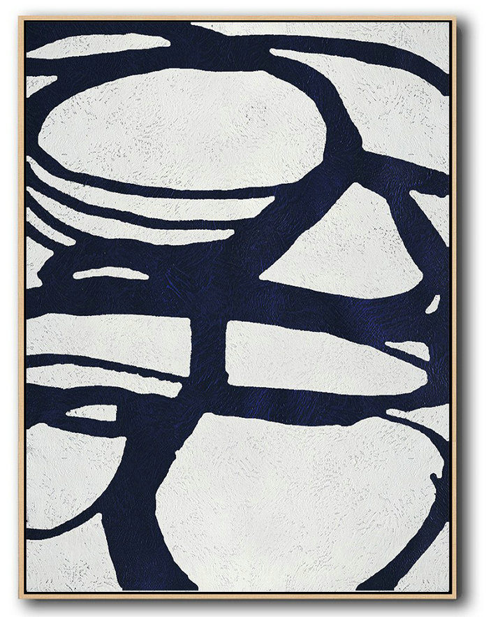 Buy Hand Painted Navy Blue Abstract Painting Online,Abstract Painting On Canvas #I7G9